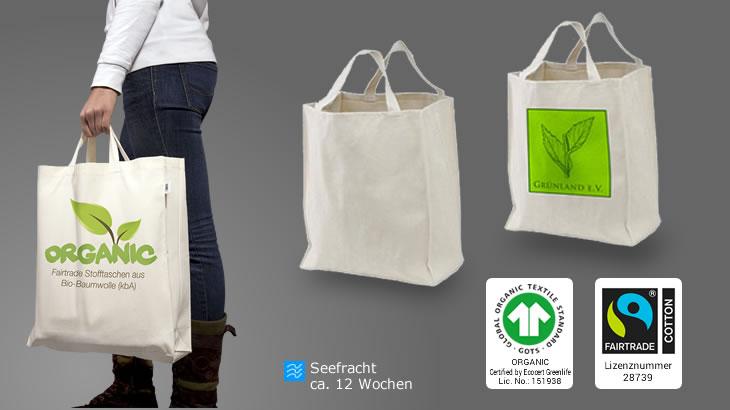 df68370b490e0 Breite Stofftasche mit kurzen Henkeln (Bio