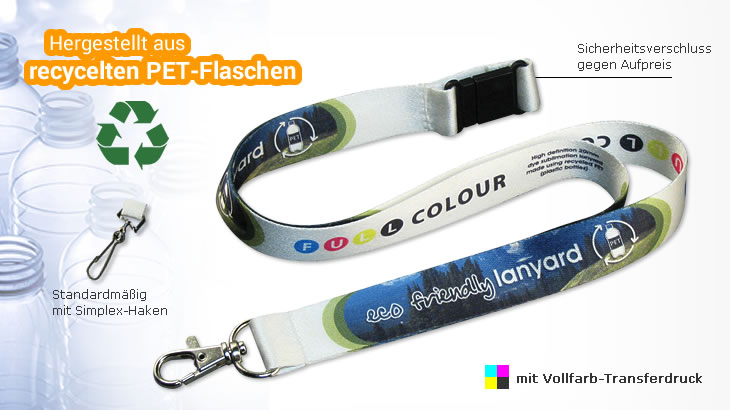 Recycling-Lanyard aus PET-R - Deluxe