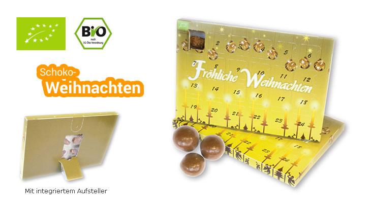 Schokoladen Weihnachtskalender.Mini Adventskalender Mit Bio Schokokugeln Green Promotion